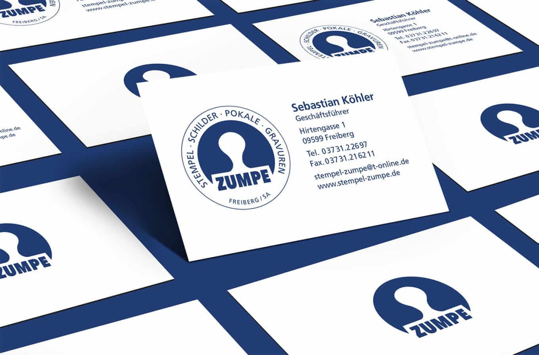Zumpe Freiberg Visitenkarten - Referenz Maho Werbeagentur Dresden