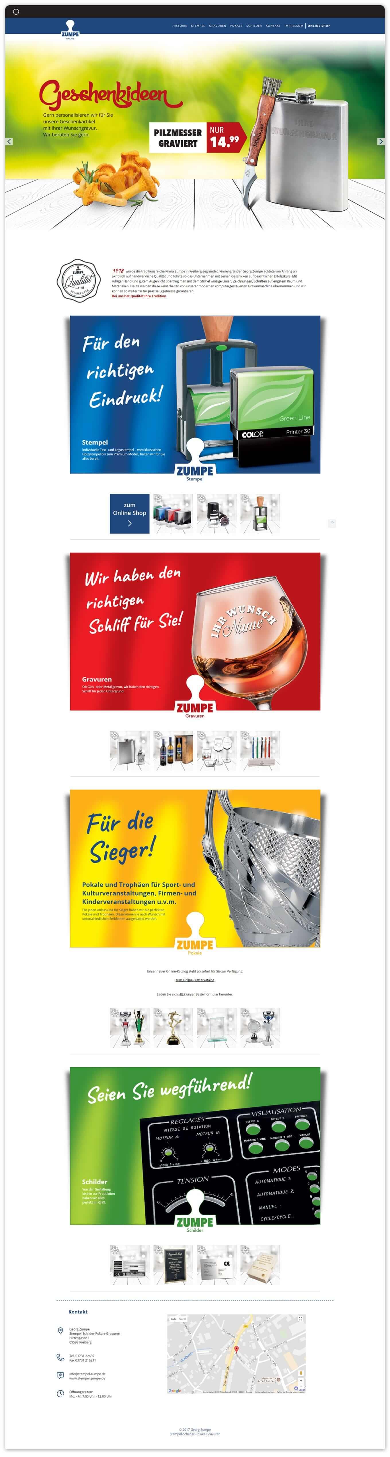 Zumpe Freiberg Website - Referenz Maho Werbeagentur Dresden