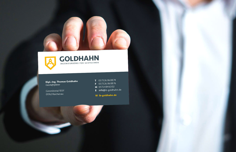 Ingenieurbüro Visitenkarten Goldhahn - Referenz Maho Werbeagentur Dresden
