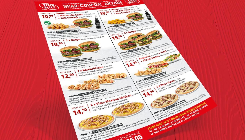 Pizza Blitz Speisekarte - Referenz Maho Werbeagentur Dresden